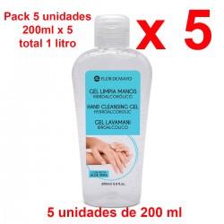 5 x Gel Higienizante Hidroalcoholico Limpiamanos con Aloe Vera 200ml - Total 1 litro.